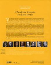 L'Academie Francaise Au Fil Des Lettres (De 1635 A Nos Jours) - 4ème de couverture - Format classique
