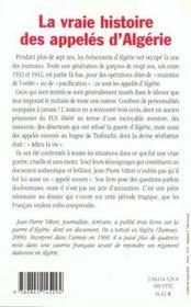 La vraie histoire des appeles d algerie - 4ème de couverture - Format classique