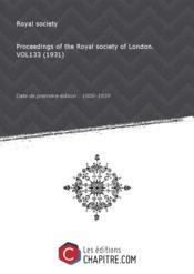 Proceedings of the Royal society of London. VOL133 (1931) [Edition de 1800-1939]