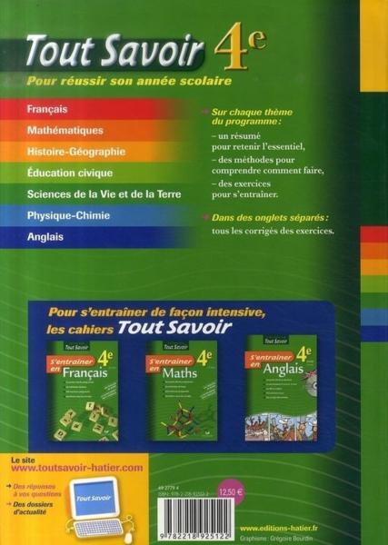 livre - tout savoir en 4e - formond  c   siblini  r   sutou - acheter occasion  07  2007