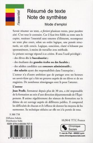 livre résume de texte note de synthèse mode d emploi jean