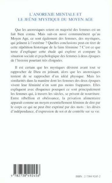 livre l 39 anorexie mentale et le jeune mystique du moyen age faim foi et pouvoir nathalie fraise. Black Bedroom Furniture Sets. Home Design Ideas