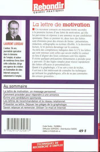livre - la lettre de motivation - laurent loiseau - acheter occasion  08  1999