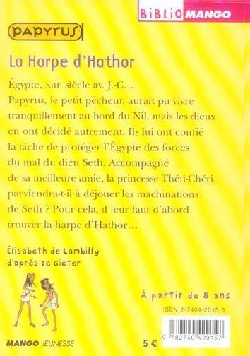 livre papyrus la harpe d 39 hathor lisabeth de. Black Bedroom Furniture Sets. Home Design Ideas
