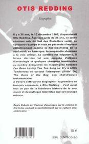 Otis Redding ; Biographie - 4ème de couverture - Format classique