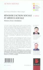 Renover l'action sociale et medico-sociale - 2eme edition - histoires d'une refondation. (2e édition) - 4ème de couverture - Format classique