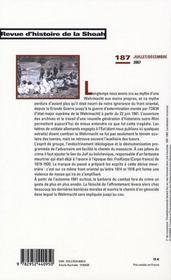 Revue histoire de la Shoah t.187 ; la Wehrmacht dans la Shoah - 4ème de couverture - Format classique