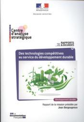 Des technologies compétitives au service du développement durable. - Couverture - Format classique