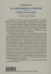 Le labyrinthe de la solitude ; critique de la pyramide - 4ème de couverture - Format classique