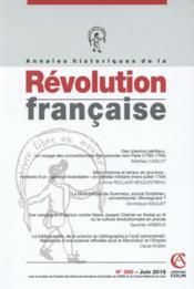 Annales Historiques De La Revolution Francaise N.380 - Couverture - Format classique