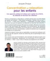 Concentration et relaxation pour les enfants (édition 2016) - 4ème de couverture - Format classique