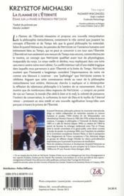 La flamme de l'éternité ; essais sur la pensée de Nietzsche - 4ème de couverture - Format classique