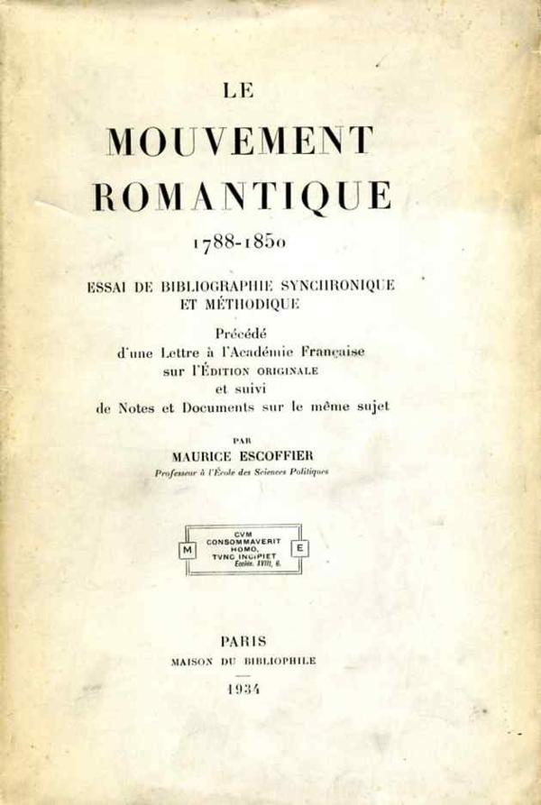 Livre le mouvement romantique 1788 1850 essai de for Auteur romantique