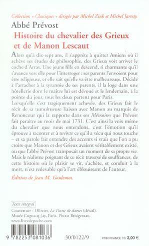 livre manon lescaut antoine françois prévost