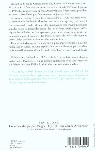 « Si c'est un homme » de Primo Levi - Fiche de lecture ...