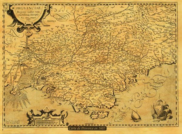 carte de provence par pietro ioanne bompario cartographe 1605. Black Bedroom Furniture Sets. Home Design Ideas