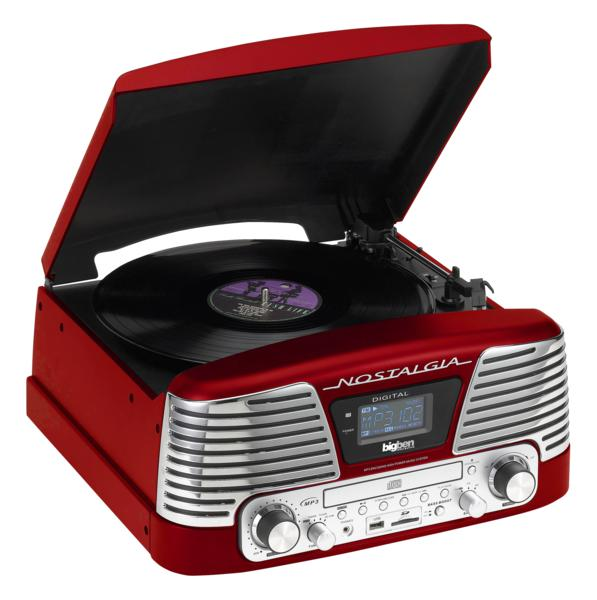 tourne disques r tro vintage rouge td79 avec encodeur mp3. Black Bedroom Furniture Sets. Home Design Ideas