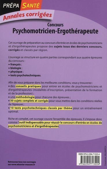 livre - concours psychomotricien ergoth u00e9rapeute   annales corrig u00e9es  3e  u00e9dition