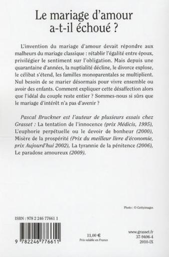 livre le mariage d 39 amour a t il chou pascal bruckner acheter occasion 15 09 2010. Black Bedroom Furniture Sets. Home Design Ideas