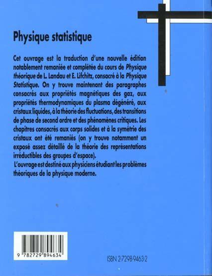 livre - physique theorique physique statistique
