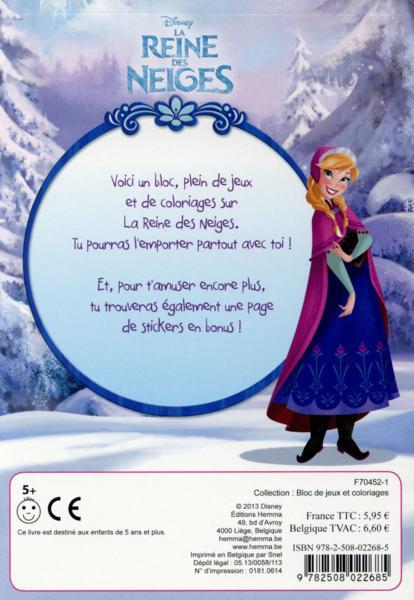 Livre disney la reine des neiges bloc de jeux et coloriages avec stickers collectif - Jeux gratuit pour fille la reine des neiges ...
