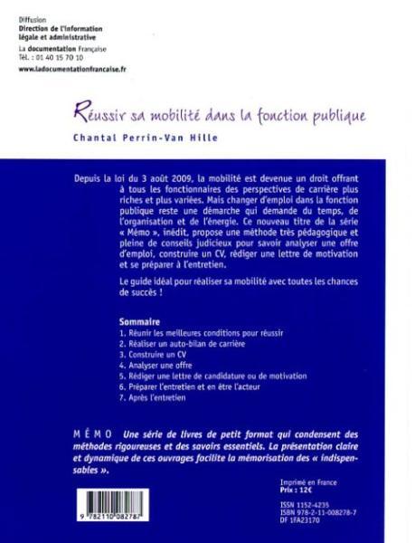livre - r u00e9ussir sa mobilit u00e9 dans la fonction publique   cv et lettre de motivation