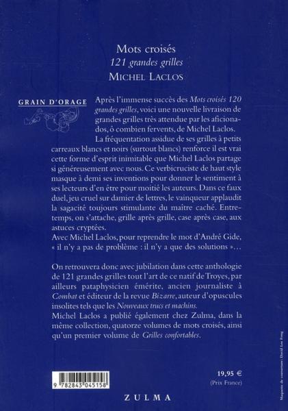 Livre mots crois s 121 grandes grilles michel laclos - Grille mots croises michel laclos gratuites ...