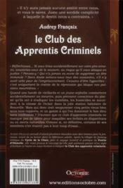Club Des Apprentis Criminels (Le) - 4ème de couverture - Format classique