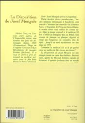 La disparition de Josef Mengele - 4ème de couverture - Format classique
