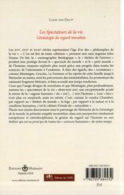 Les spectateurs de la vie ; généalogie du regrad moraliste - 4ème de couverture - Format classique