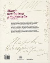 Musée des lettres et manuscrits ; les collections - 4ème de couverture - Format classique