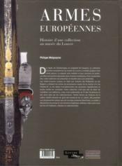 Armes européennes du musée du Louvre - 4ème de couverture - Format classique