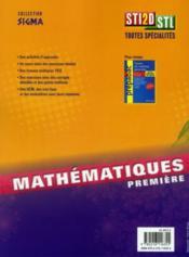 Sigma ; Mathématiques ; 1ère Sti2d Stl (Edition 2011) - 4ème de couverture - Format classique