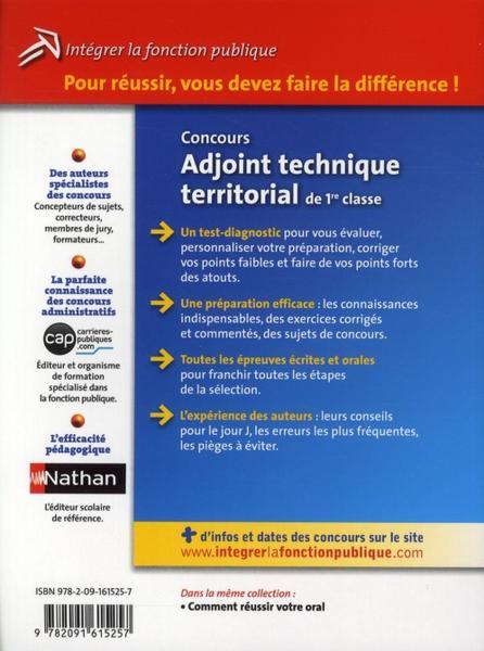 Livre concours adjoint technique territorial de 1 re - Grille indiciaire adjoint technique 1ere classe ...