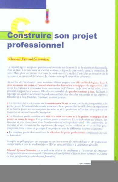 livre construire projet professionnel chantal eymard simonian