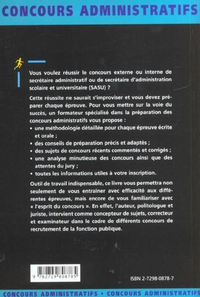 livre secretaire administratif et sasu categorie b concours externes et internes fonction
