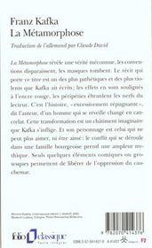 resume du livre la metamorphose de kafka