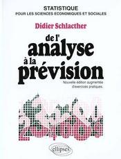 De L'Analyse A La Prevision Cours