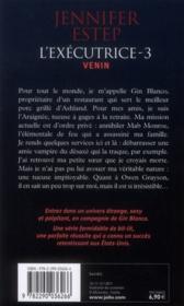 L'exécutrice t.3 ; venin - 4ème de couverture - Format classique