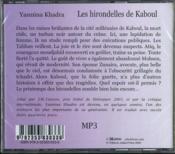Les hirondelles de Kaboul - 4ème de couverture - Format classique