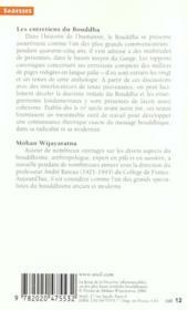 Les entretiens du Bouddha - 4ème de couverture - Format classique