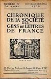Presse - Chronique De La Societe Des Gens De Lettres De France N°10 du 01/11/1939
