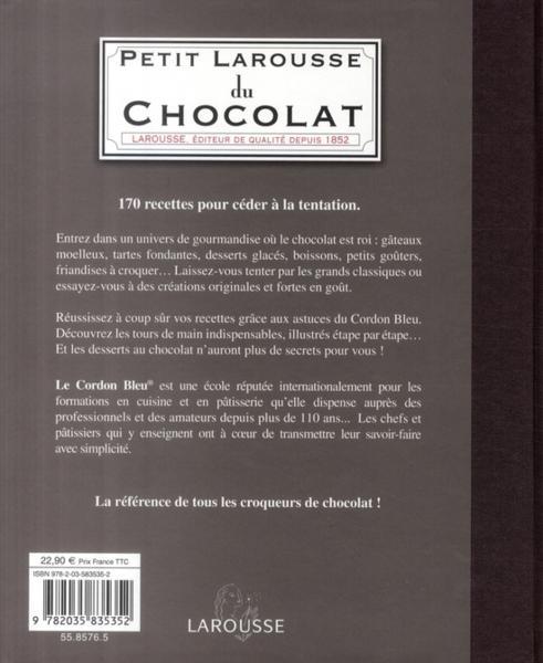Livre petit larousse du chocolat le cordon bleu for Petit larousse de la cuisine