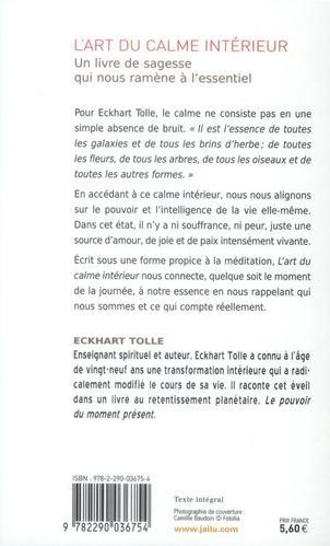 Livre l 39 art du calme interieur eckhart tolle for Calme interieur