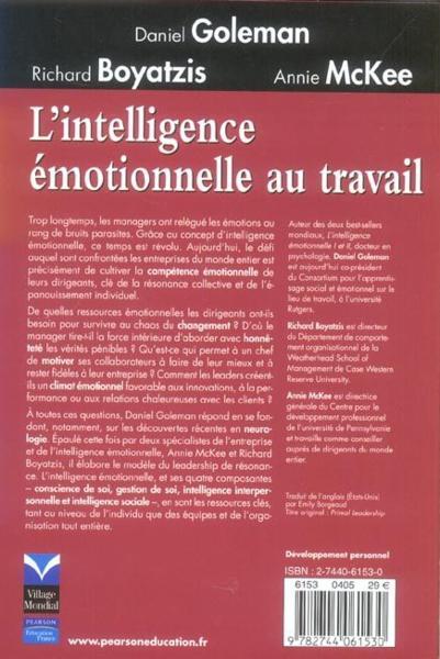 livre - l u0026 39 intelligence emotionnelle au travail - daniel goleman - acheter occasion  03  2005
